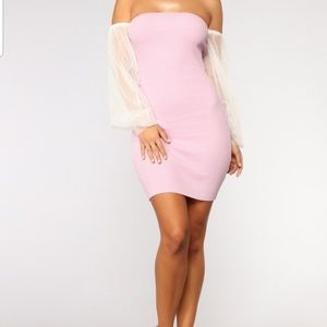 Dresses & Skirts - Pink  Dress with White Mesh Sleeves
